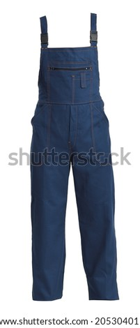 Protective working bluejeans trou, isolated on white background - stock photo