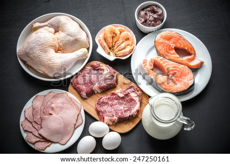 Protein diet: raw products on the wooden background - stock photo