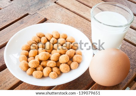 Protein nutrients of peanut ,milk and egg - stock photo