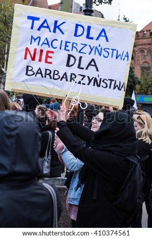 protest against anti-abortion law in Poland, Gdansk, 2016.04.24, uStawka