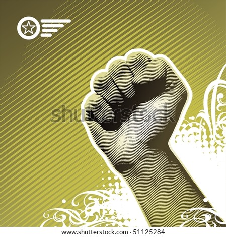 Protest hand sign - stock photo