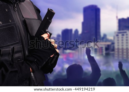 protest police in the city - stock photo