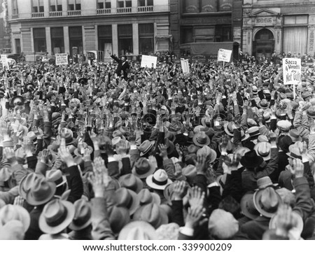Protest strike advocated at Sacco and Vanzetti meeting at Union Square, NYC. Ca. April 19, 1927. The Sacco-Vanzetti Defense Committee called for a nationwide strike to protest against the death senten - stock photo