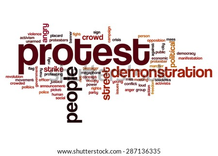 Protest word cloud - stock photo