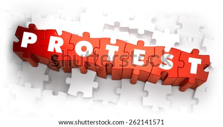 Protest - Word on Red Puzzles. 3D Render. - stock photo