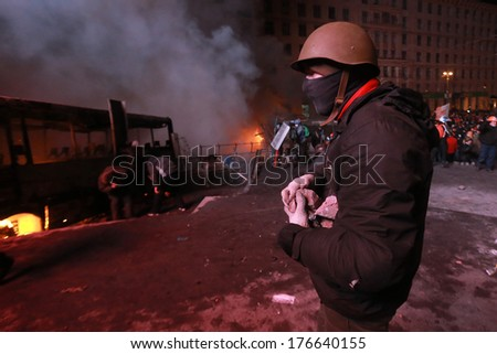 Protester with stones. Kyiv, Ukraine, January 19, 2014