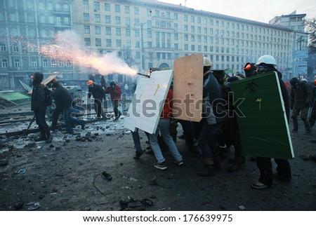 Protesters shot fireworks at police. Kyiv, Ukraine, January 20, 2014 - stock photo