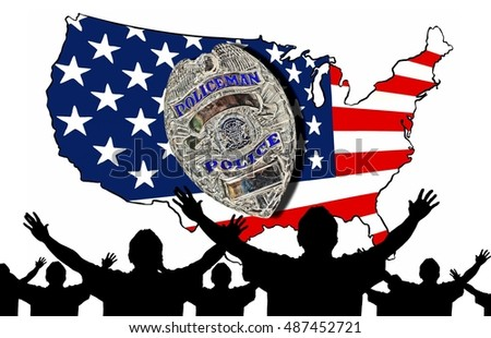 Protesting Crowd of People with Their Hands Up in Front of an American Flag Map and Police Badge