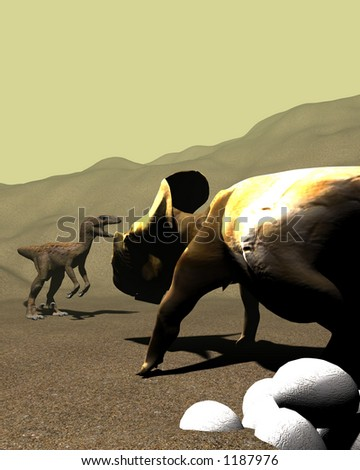 protoceratops guarding its egGs from a raptor - stock photo