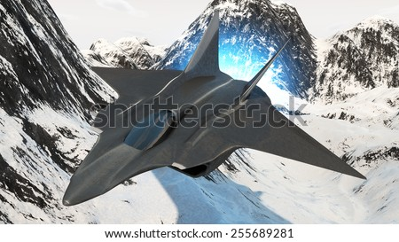 prototype of the future fighter aircraft invisible to radar rendered in 3d