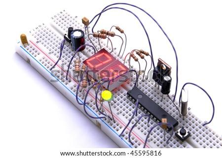 Prototyping electronic board - stock photo