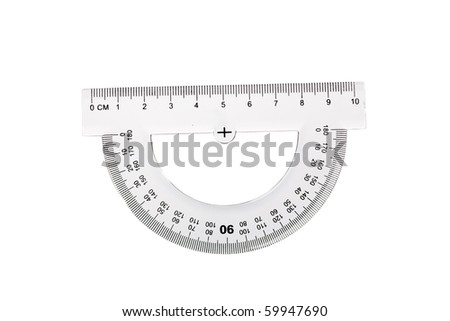 Protractor isolated on white - stock photo