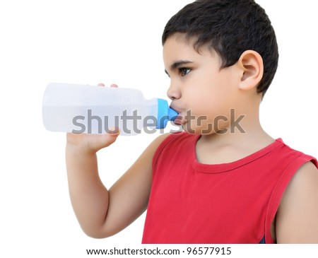 Protrait of a latin boy drinking water isolated on white - stock photo