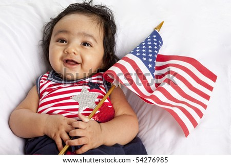 Proud Asian American Baby Celebrating July Fourth - stock photo
