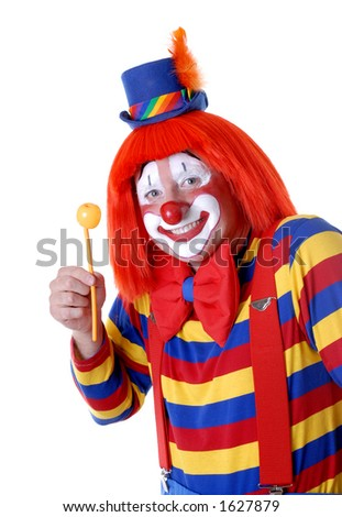 Proud Clown Displaying a Balloon Flower - stock photo
