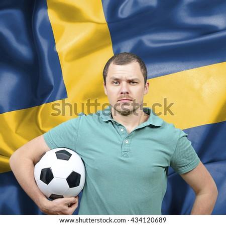 Proud football fan of Sweden - stock photo