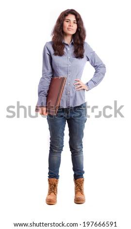 Proud girl holding a folder - stock photo