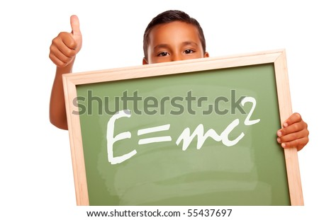 Proud Hispanic Boy Holding Chalkboard with the Theory of Relativity and Thumbs Up Isolated on a White Background. - stock photo