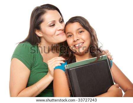 Proud Hispanic Mother and Daughter Ready for School Isolated on a White Background. - stock photo