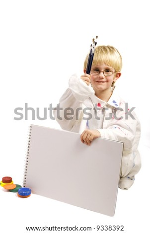 proud little artist with your text - stock photo