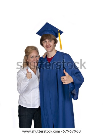 proud mom with son in blue graduation gown both giving thumbs up on white background - stock photo