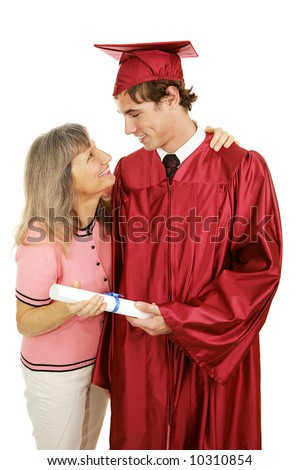 Proud mother congratulates her son on his graduation.  Isolated on white.