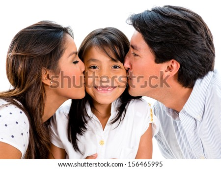 Proud parents kissing their daughter - isolated over white background  - stock photo