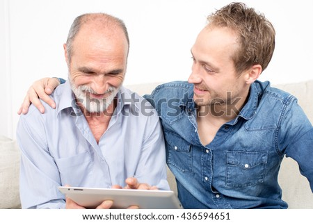 Proud son with father  - stock photo