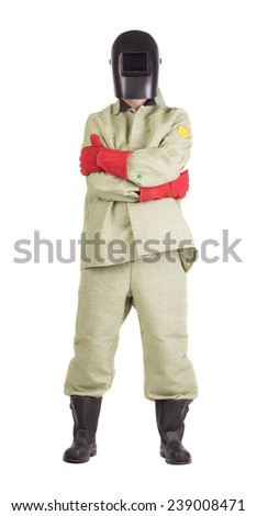 Proud welder in uniform. Isolated on a white background. - stock photo