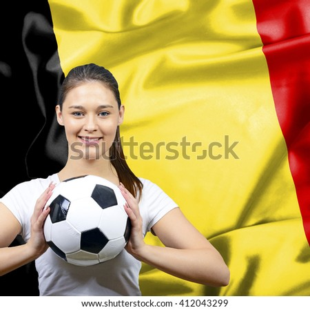 Proud woman football fan of Belgium