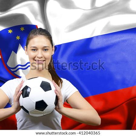 Proud woman football fan of Slovenia - stock photo