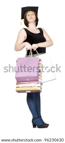 Proud woman with shopping bags, master of shopping- concept. Isolated on white. - stock photo