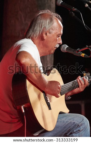 "PROVAGLIO,ITALY - AUGUST 30:  exhibition live of the  italian guitar player Giovanni Pelosi  at the event ""Acoustic Franciacorta 2015"",30 August ,2015 in Provaglio,Italy"