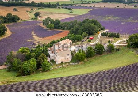 Provencal farm near Sault, Vaucluse, Provence, France - stock photo