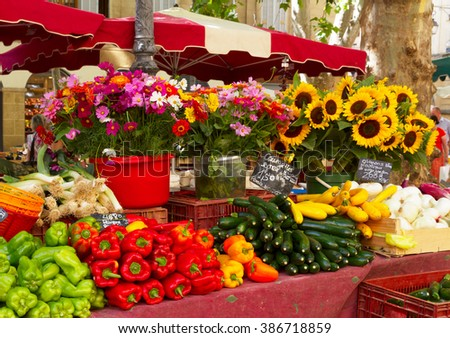 Provence market with local food and flowers - stock photo