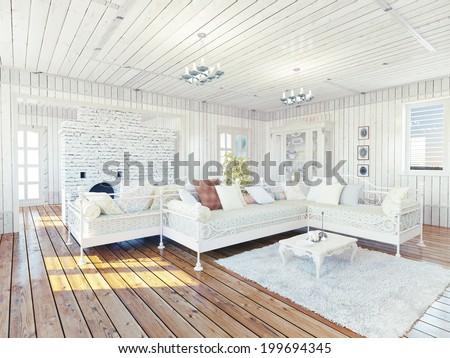 Provence rural house interior. Design concept - stock photo