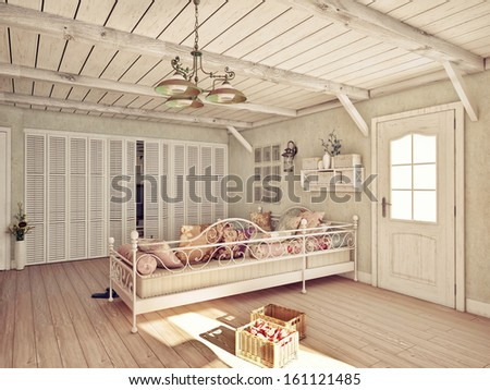 Provence style interior (3D rendering) - stock photo
