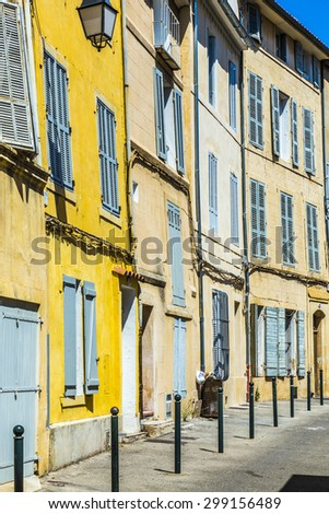 Provence typical city Aix en Provence with old house facade - stock photo