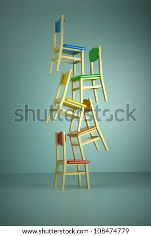 provide the public magic, building of chairs - stock photo