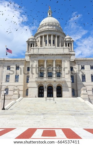 Providence, Rhode Island. City in New England region of the United States. State capitol building. Black birds.