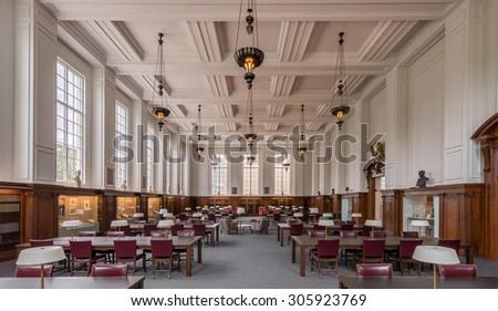 PROVIDENCE, RHODE ISLAND - JULY 24: Reading room at the John Hay Library on July 24, 2015 in Providence, Rhode Island - stock photo