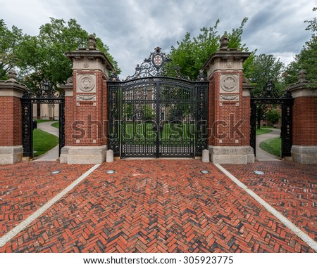 PROVIDENCE, RHODE ISLAND - JULY 24: Van Wickle gates (1901) on the campus of Brown University on July 24, 2015 in Providence, Rhode Island - stock photo