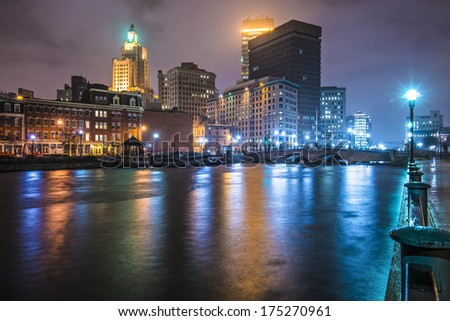 Providence, Rhode Island, USA downtown on the river. - stock photo