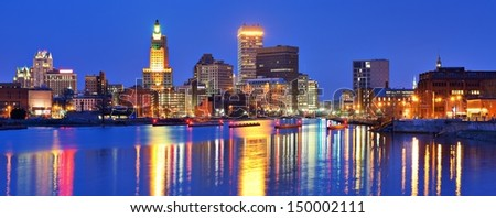 Providence, Rhode Island, USA panorama from across the Providence River.