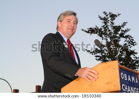 Providence, RI- September 19: United States Senator from Rhode Island, Sheldon Whitehouse, speaks at a political rally for Presidential candidate Barack Obama on September, 19, 2008, in Providence, RI - stock photo