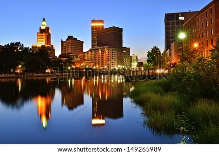 Providence skyline and river, Rhode Island, USA - stock photo