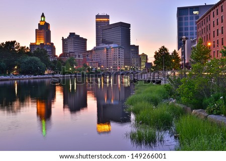 Providence skyline and river, Rhode Island, USA - stock photo