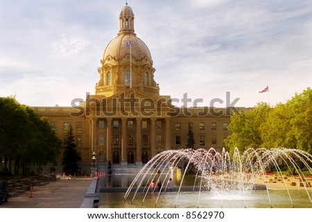 Provincial legislature grounds in Edmonton Alberta. - stock photo