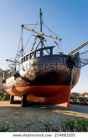 Prow and starboard view of a replica of a caravel - stock photo
