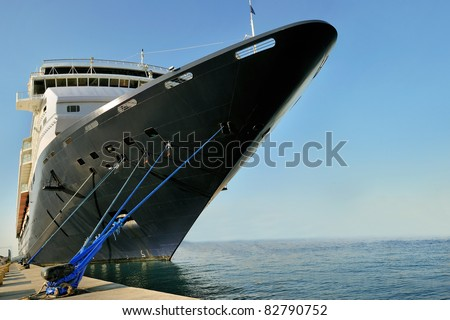 prow front view of a large cruise liner ship - stock photo